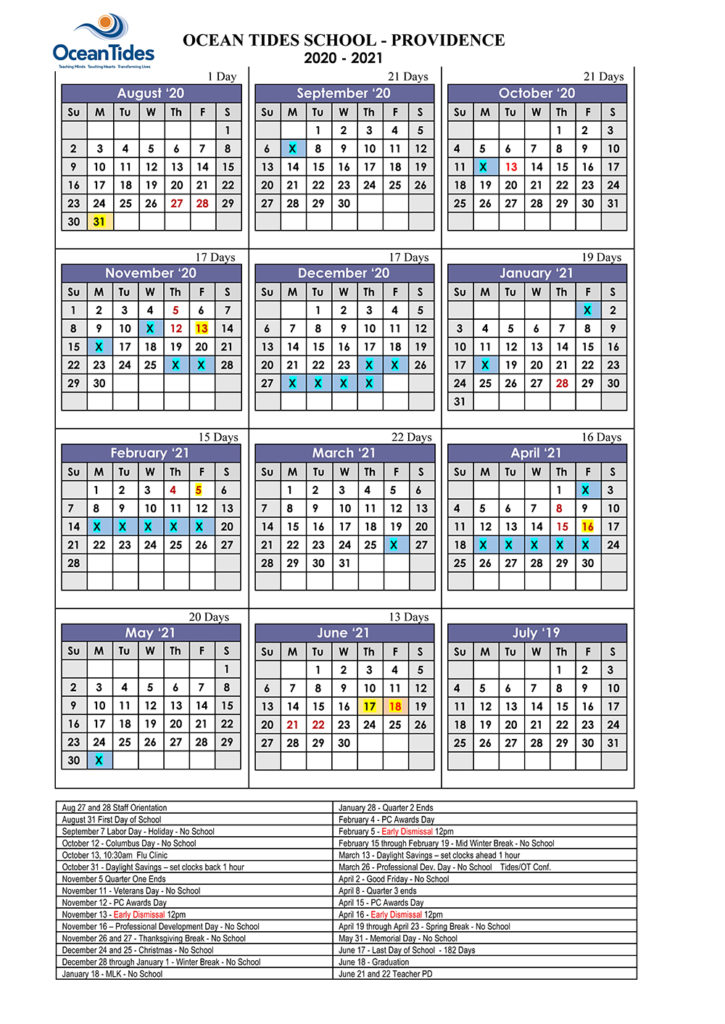 OceanTides - Providence Campus calendar 2020-2021