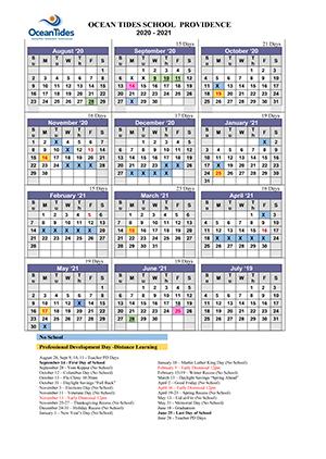 Ocean Tides Providence Campus 2020-21 Calendar